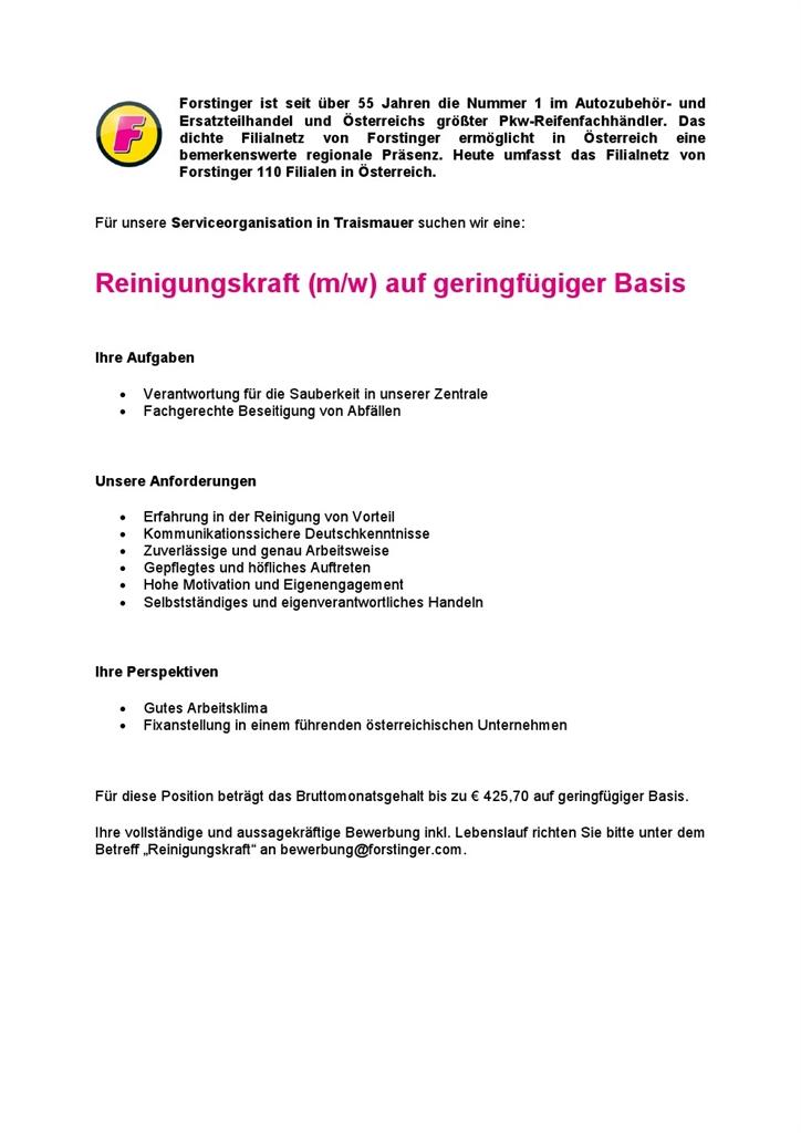 Stellenausschreibung bei Forstinger - Stadtgemeinde Traismauer ...